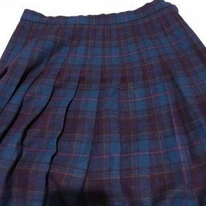 Vintage Pendleton Plaid Wool Skirt Blue Purple 12